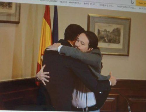 El abrazo de Sánchez e Iglesias tras las elecciones 10-N